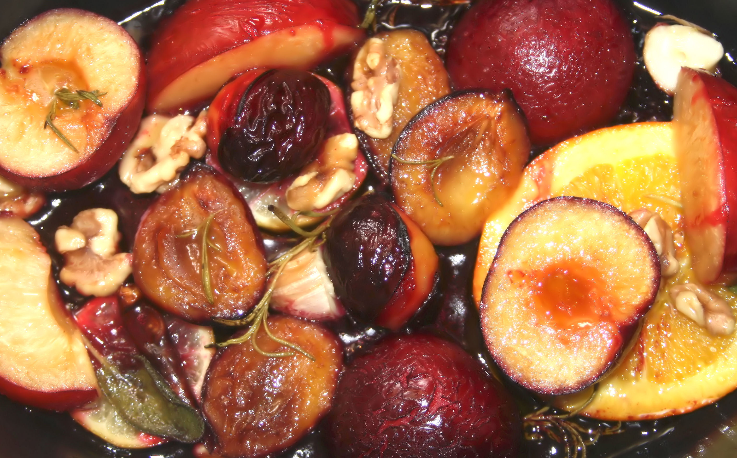 roasted plums with walnuts and lemons