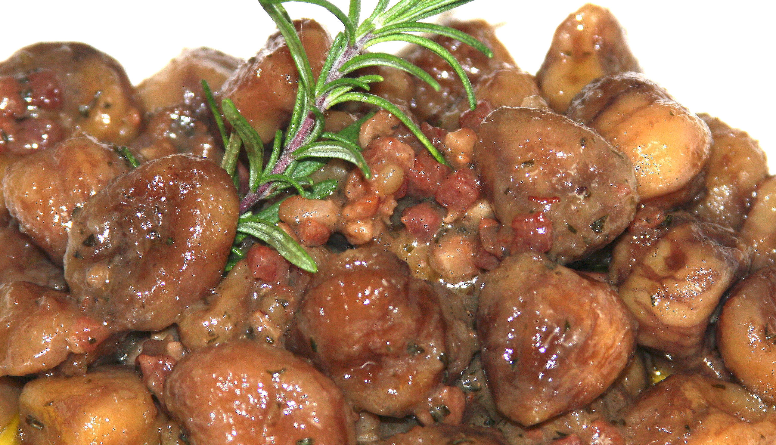 Braised Roasted Chestnuts with Pancetta and Rosemary